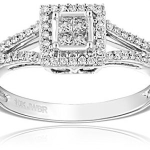 10k White Gold Diamond (1/4cttw, H-I Color, I2-I3 Clarity) Promise Ring