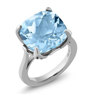 12.12 Ct Cushion Checkerboard Sky Blue Topaz White Diamond 925 Silver Ring (Available in size 5, 6, 7, 8, 9)