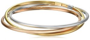 14k Gold-Bonded Sterling Silver Tri-Color Interlocking Bangle Bracelets, 8″