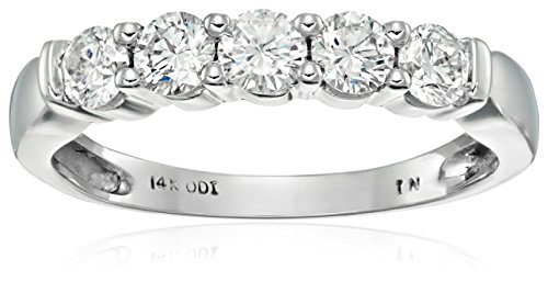 14k White Gold 5-Stone Diamond Anniversary Band (1/2 cttw, I-J Color, I2-I3 Clarity)