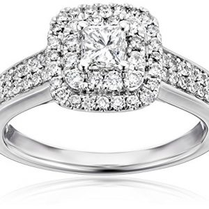 14k White Gold Princess Cut Centre Stone Diamond Bridal Engagement Ring (1cttw, I-J Color, I1-I2 Clarity)