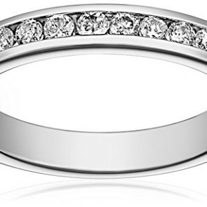 14k White Gold Round Diamond Anniversary Band (1/4 cttw, H-I Color, I1-I2 Clarity), Size 9