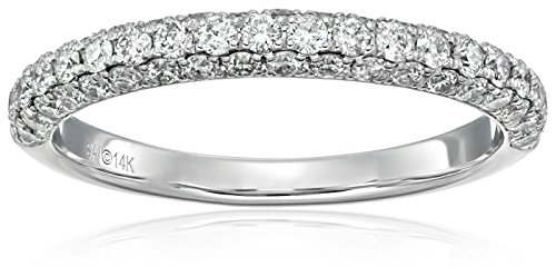 14k White Gold and Diamond Anniversary Band Ring (3/4 cttw, H-I Color, I2 Clarity)