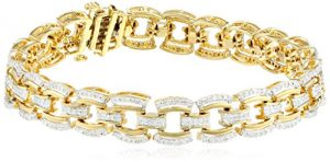18K Gold Plated Sterling Silver Diamond Bracelet (1 cttw, ), 7.25″