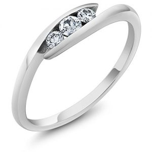 18K Solid White Gold Diamond 3 Stone Bypass Women's Ring Wedding Band (Available in size 5, 6, 7, 8, 9)