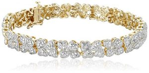 18k Yellow Gold over Sterling Silver Diamond Hearts Bracelet (1/10cttw, I-J Color, I2-I3 Clarity), 7.25″