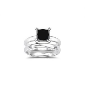 2.50 Cts Princess Cut Black Diamond Engagement and Plain Wedding (3mm comfort fit) Ring Set in Sterling Silver