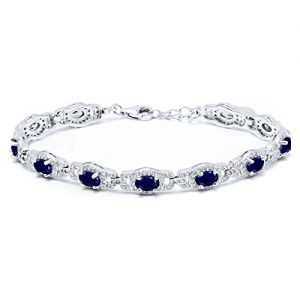 9.65 Ct Natural Blue Sapphire 925 Sterling Silver 7 Inch Bracelet With 1 Inch Extender