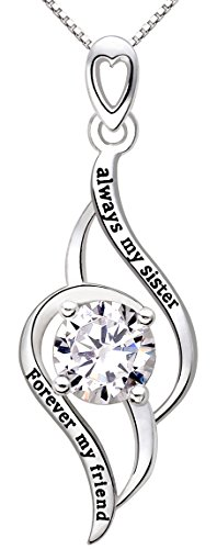 "ALOV Jewelry Sterling Silver ""always my sister Forever my friend"" Love Cubic Zirconia Pendant Necklace"