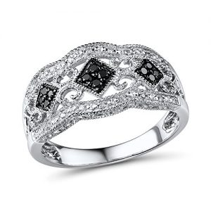 Black and White Diamond Anniversary Band in Rhodium Plated Sterling Silver (1/5 cttw)