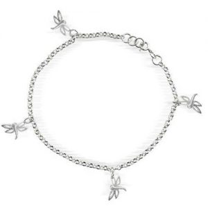 Bling Jewelry 925 Sterling Silver Dangling Dragonfly Charms Anklet 10in