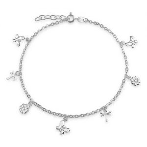 Bling Jewelry Butterfly Sterling Silver Flower Dragonfly Charm Anklet 9in