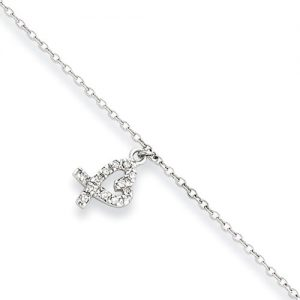 CZ Heart Charm Anklet in Rhodium-Plated Sterling Silver, 10-11 Inch