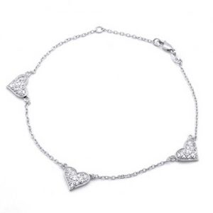 Christmas Gifts Pave CZ Three Heart 925 Sterling Silver Chain Anklet 8.5in