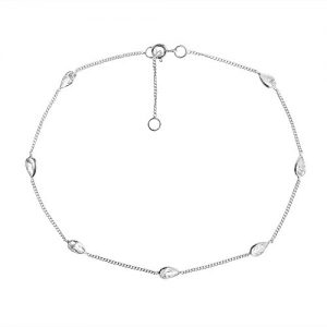 Classy Teardrop White Cubic Zirconia Link .925 Sterling Silver Spring Ring Clasp Anklet Body Jewelry