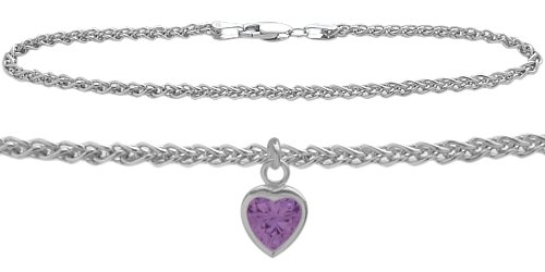 Genuine Sterling Silver Wheat Anklet with Genuine Amethyst Heart Charm