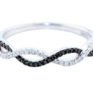 Infinity Band Wedding Anniversary Ring Twisted Black and White Diamonds in Silver(i2/i3, I/j, 1/8ctw)