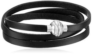 Leather and Stainless Steel Magnetic-Clasp Bracelet