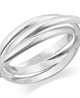 MIMI 925 Sterling Silver 3 Triple Band Rolling Russian Wedding