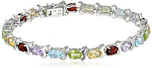 Multi Gemstone Tennis Bracelet in Sterling Silver