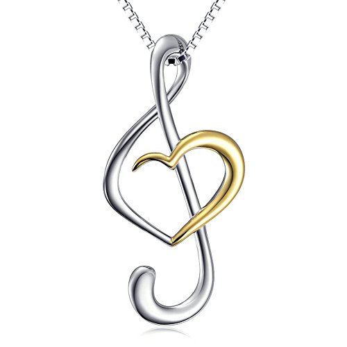 Musical note necklace pendant 925 sterling silver jewelry for women musical note necklace pendant 925 sterling silver jewelry for women box chain 18 aloadofball Image collections