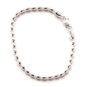 Shiny Sterling Silver 8-inch Oval Rice Bead Link Bracelet – Italian 4-mm Oval Beads w/ Lobster Claw Clasp