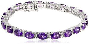 Sterling Silver  Amethyst Oval with Diamond Accent Bracelet, 7.25″