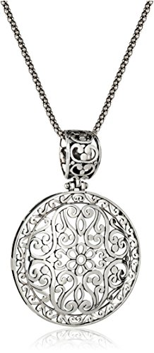 Sterling Silver Bali-Inspired Filigree Pendant Necklace, 18″