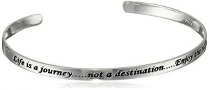 "Sterling Silver ""Life Is A Journey, Not a Destination, Enjoy The Moments"" Cuff Bracelet"