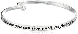 "Sterling Silver ""Love Is… Finding Someone You Can't Live Without"" Sentiment Catch Bangle Bracelet"