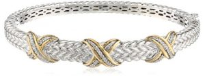 Sterling Silver and 14k Yellow Gold Triple X Design Diamond Textured Bangle Bracelet (.18 cttw)