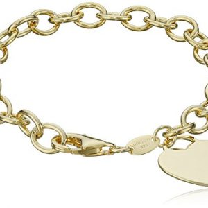 Sterling Silver and Gold-Plated Bracelet with Heart Charm, 7.5″