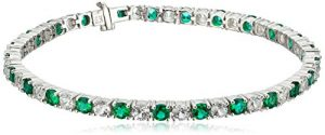 Sterling Silver with 3K White Gold Tongue Lab White Sapphire and Lab Emerald Bracelet
