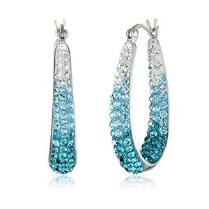 Sterling Silver with Swarovski Elements Faded Blue Ombre Hoop Earrings