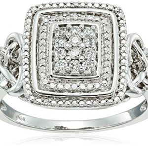 Sterling Silver with White Diamond Celtic Knot Fashion Ring (1/10cttw, I-J Color, I3 Clarity)