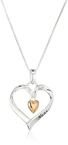 "Two-Tone Sterling Silver and Rose-Gold Flashed ""Nana You Are Loved"" Heart Pendant Necklace, 18-Inches"