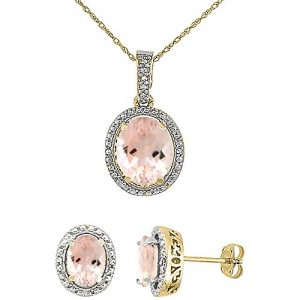 10K Yellow Gold Diamond Natural Morganite Oval Earrings & Pendant Set