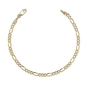 10k Two-Tone Gold Figaro Chian Bracelet and Anklet with White Pave, 0.1 Inch (2.5mm)