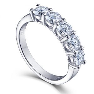 1.25 CTW Round Lab Moissanite Diamond Half Eternity Anniversary Wedding Band Ring 925 Sterling Silver