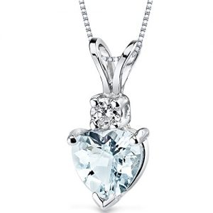 14 Karat White Gold Heart Shape 0.75 Carats Aquamarine Diamond Pendant