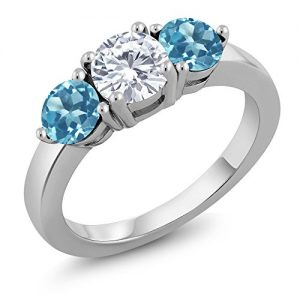 1.78 Ct Round White Created Moissanite Swiss Blue Topaz 925 Sterling Silver Ring
