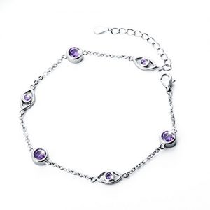 925 Sterling Silver Adjustable Lucky CZ Evil Eye Charm Bracelet for Women, (6.9-8.1 inches)