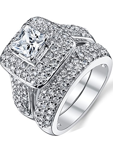 wedding sterling silver diamond jewellery round ring set and sets in bridal cut ctw engagement calista front