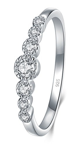 925 Sterling Silver Ring, Boruo Cubic Zirconia CZ Diamond Eternity Engagement Wedding Band Ring