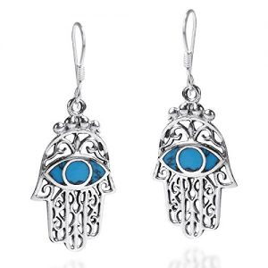 .925 Sterling Silver Simulated Turquoise Jewish Hamsa Hand Evil Protection Earrings