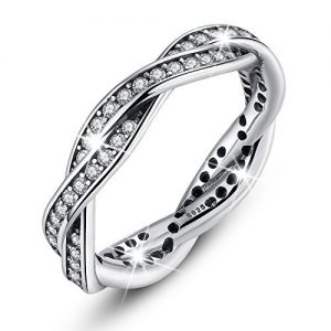 Bamoer Sterling Silver Eternity Twist Love Promise with Cubic Zirconia Stacking Jewelry Set Band Rings