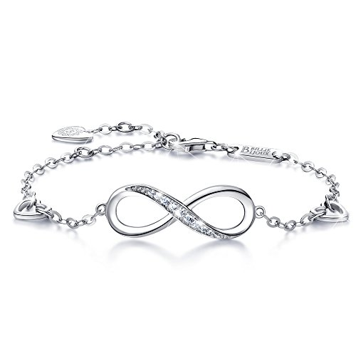 Infinity Ankle Bracelet For Women, 925 Sterling Silver Charm Adjustable Anklet, Large Bracelet