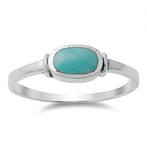 CHOOSE YOUR COLOR Sterling Silver Oval Ring