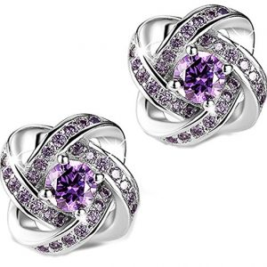 DASATA Women's Purple White 925 Sterling Silver Stud Earrings For Party Wedding