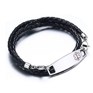 Free Engraving Unisex Stainless Steel Tag with Black Braided Leather Triple Wrap Medical Alert Bracelets